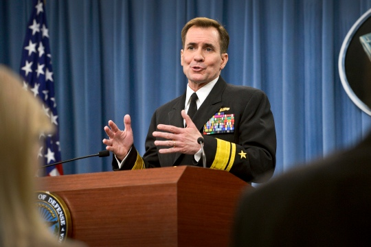 Pentagon Press Secretary Rear Adm. John Kirby takes questions from the press in the Pentagon press briefing room, Feb. 13, 2015. Kirby updated the media on the status of the changeover between outgoing Secretary of Defense Chuck Hagel and incoming Secretary of Defense, yet to be sworn-in, Ashton B. Carter and recent ISIL attacks in Iraq.  DoD photo by Glenn Fawcett (Released)