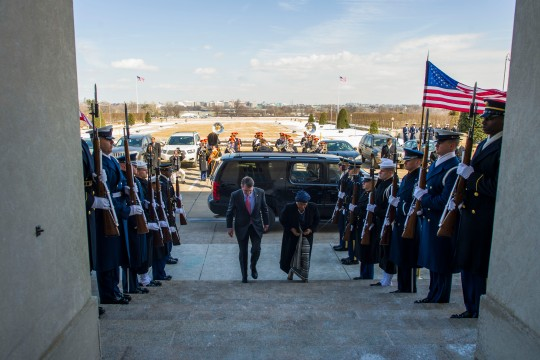 Secretary of Defense Ash Carter hosts an honor cordon for Liberian President Ellen Johnson Sirleaf at the Pentagon Feb. 25, 2015. (DoD photo by Petty Officer 2nd Class Sean Hurt/Released)