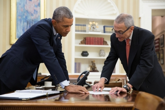 President Barack Obama meets with John Podesta, Counselor to the President, in the Oval Office, Jan. 29, 2015. (Official White House Photo by Pete Souza)