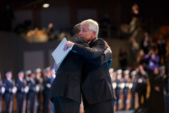 President Barack Obama hugs Secretary of Defense Chuck Hagel following remarks during an Armed Forces farewell in honor of Secretary Hagel at Joint Base Myer-Henderson Hall in Fort Myer, Va., Jan. 28, 2015. (Official White House Photo by Pete Souza)