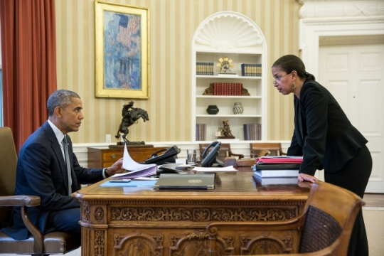 President Barack Obama talks with National Security Advisor Susan E. Rice in the Oval Office prior to a phone call with President Vladimir Putin of Russia, Feb. 10, 2015. (Official White House Photo by Pete Souza)