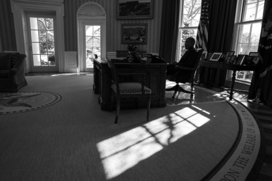 President Barack Obama holds a meeting before a phone call with President Sergio Mattarella of Italy, in the Oval Office, Feb. 17, 2015. (Official White House Photo by Pete Souza)