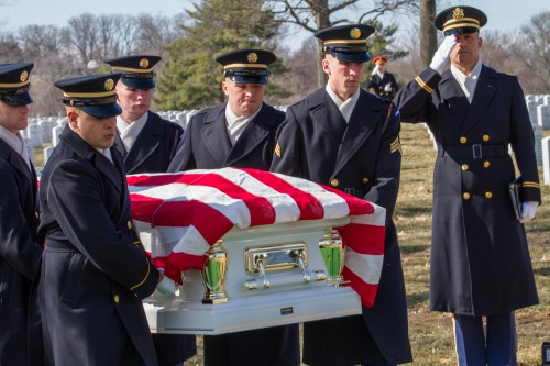 """U.S. Army Chaplain Theodore """"Ted"""" Randall Salutes Sp5 Wyley Wright Jr. & Ouida F. Wright as they are laid to rest at Arlington National Cemetery, March 10, 2014.  Photo Courtesy: Andre Ray Thompson/Ray Caling, Arlington, VA"""