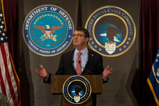 Secretary of Defense Ash Carter briefs troops and members of the press at National Security Agency headquarters on Fort Meade, Md. March 13, 2015. Carter visited the facility to speak to troops and evaluate the current state of cyber security. DoD photo by Petty Officer 2nd Class Sean Hurt/Released.