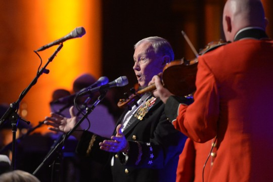 Army Gen. Martin E. Dempsey, chairman of the Joint Chiefs of Staff, sings a pair of Irish tunes during the 2015 Tragedy Assistance Program for Survivors gala at the National Building Museum in Washington, D.C., March 18, 2015.