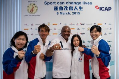 Boxing Great Marvelous Marvin Hagler -  Laureus Hong Kong Project Visit.  Photo Courtesy:  Laureus / Anthony Kwan/Getty Images