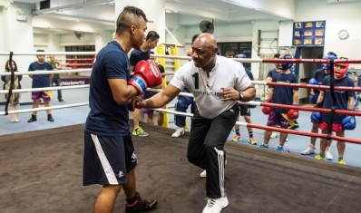 'It is great to see that boxing is helping young people to change their lives' – says Marvelous Marvin Hagler.  Photo Courtesy:  Laureus / Cision