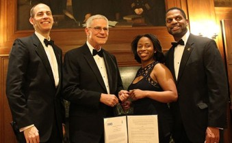 Strategic Partnership: Leaders of the National Society of Black Engineers (NSBE) and the American Society of Civil Engineers (ASCE) sign a memorandum of understanding, before the Charles Stark Draper Awards Dinner at the National Academy of Sciences in Washington, D.C. (left to right) ASCE Executive Director Thomas W. Smith III; ASCE President Robert D. Stevens; NSBE National Chair Sossena Wood and NSBE Executive Director Karl W. Reid (Feb. 24, 2015).  Photo Courtesy:  Blacknews.com