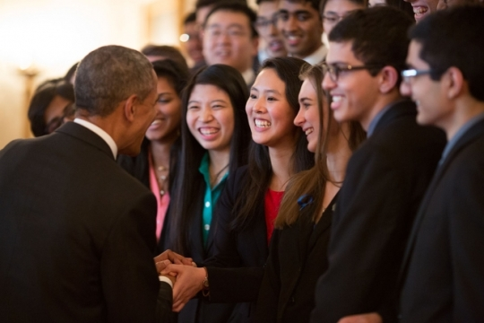 President Barack Obama greets the 2015 Intel Science Talent Search finalists in the Grand Foyer of the White House, March 11, 2015. (Official White House Photo by Pete Souza)