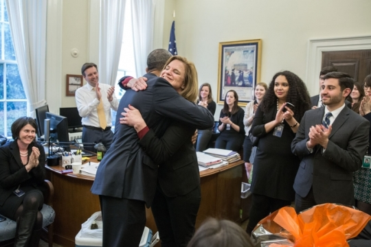 President Barack Obama hugs Communications Director Jennifer Palmieri in her West Wing Office during a farewell party on her last day at the White House, March 20, 2015. (Official White House Photo by Pete Souza)