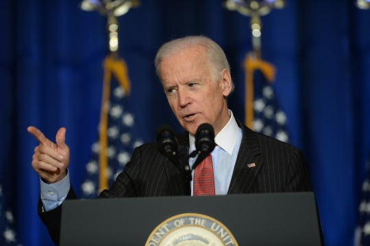 Vice President Joe Biden speaks on U.S. policy in Iraq at National Defense University on Fort McNair, April 9, 2015.