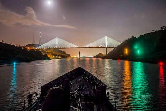 150410-N-IG780-186 PANAMA CANAL, Panama (April 10, 2015) The guided-missile frigate USS Kauffman (FFG 59) transits the Panama Canal. Kauffman is underway in support of Operation Martillo, a joint operation with the U.S. Coast Guard and partner nations within the U.S. 4th Fleet area of responsibility. (U.S. Navy photo by Mass Communication Specialist 3rd Class Shane A. Jackson/Released)