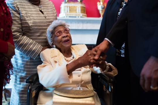 President Barack Obama greets 109-year-old Emma Primas of Houston, Texas, prior to the Easter Prayer Breakfast in the East Room of the White House, April 7, 2015. (Official White House Photo by Pete Souza)