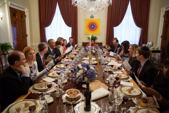 President Barack Obama and First Lady Michelle Obama host a Passover Seder dinner in the Old Family Dining Room of the White House, April 3, 2015. (Official White House Photo by Pete Souza)