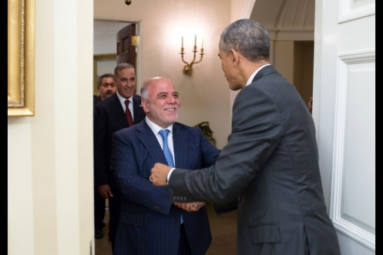 President Barack Obama greets Prime Minister Haider al-Abadi of Iraq and the Iraqi delegation prior to a meeting in the Oval Office, April 14, 2015. (Official White House Photo by Pete Souza)