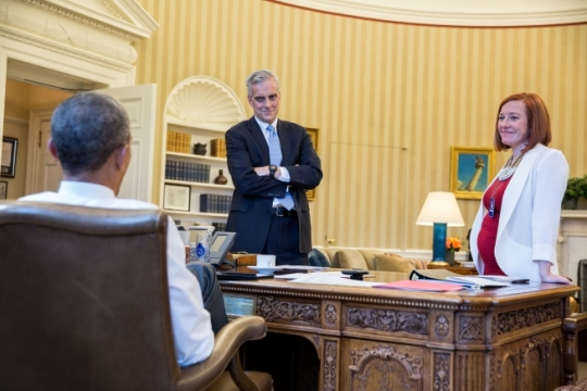 President Barack Obama meets with Chief of Staff Denis McDonough and Jen Psaki, Director of Communications, in the Oval Office, April 1, 2015. (Official White House Photo by Pete Souza)