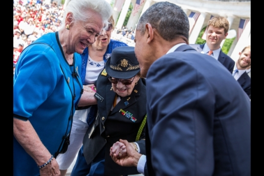 President Barack Obama greets 107 year-old Retired Army Lt. Col. Luta Mae Cornelius McGrath, a World War II veteran, after a Memorial Day ceremony at the Arlington National Cemetery Memorial Amphitheater in Arlington, Va., May 25, 2015. (Official White House Photo by Pete Souza)