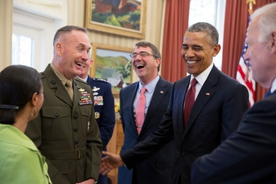 President Barack Obama laughs with, left to right, National Security Advisor Susan E. Rice, Gen. Joseph F. Dunford, Jr., Gen. Paul J. Selva, Defense Secretary Ashton Carter and Vice President Joe Biden in the Oval Office prior to announcing their nominations as Chairman and Vice Chairman of the Joint Chiefs of Staff, May 5, 2015. (Official White House Photo by Pete Souza)
