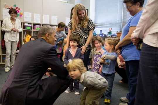 President Barack Obama visits a classroom of pre-schoolers and teachers following remarks at Adas Israel Congregation in Washington, D.C., May 22, 2015. (Official White House Photo by Pete Souza)