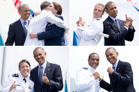 President Barack Obama shares a moment with newly commissioned ensigns during commencement at the U.S. Coast Guard Academy in New London, Conn., May 20, 2015. (Official White House Photos by Pete Souza)