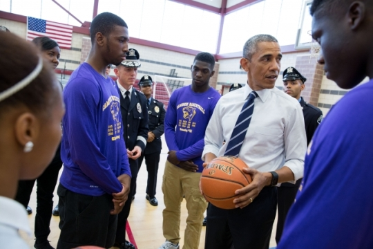 President Barack Obama talks with students and law enforcement officials following a sit-down discussion at the Salvation Army Ray and Joan Kroc Corps Community Center in Camden, N.J., May 18, 2015. (Official White House Photo by Pete Souza)
