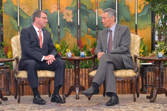 Secretary of Defense Ash Carter meets with the Prime Minister of Singapore Lee Hsien Loong, May 29, 2015. (DoD Photo by Glenn Fawcett) (Released)