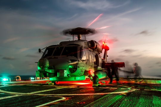 150430-N-VO234-315 SOUTH CHINA SEA (April 30, 2015) Sailors assigned to LCS Crew 103 refuel an MH-60R Seahawk helicopter, from Helicopter Maritime Strike Squadron (HSM) 35, on the flight deck aboard the littoral combat ship USS Fort Worth (LCS 3). Currently on a 16-month rotational deployment in support of the Indo-Asia-Pacific Rebalance, Fort Worth is a fast and agile warship tailor-made to patrol the region's littorals and work hull-to-hull with partner navies, providing 7th Fleet with the flexible capabilities it needs now and in the future. (U.S. Navy photo by Mass Communication Specialist 2nd Class Conor Minto/Released)