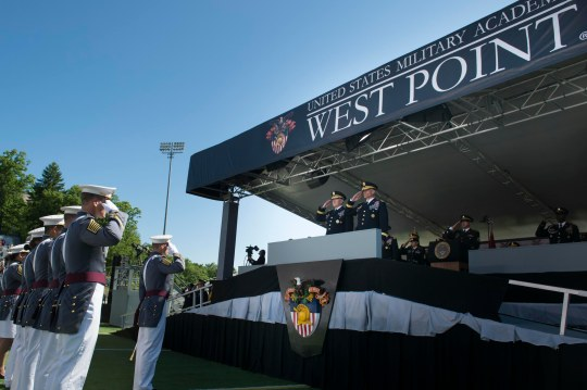 Gen. Martin E. Dempsey, 18th chairman of the Joint Chiefs of Staff, and ​Lt. Gen. Robert L. Caslen, Jr., the 59th Superintendent of the U.S. Military Academy at West Point, return salutes to the graduating class of 2015 at the U.S. Military Academy at West Point, N.Y., May 23, 2015.  DOD photo by D. Myles Cullen/Released)