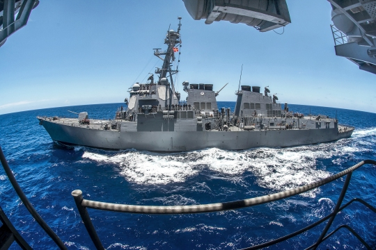 150526-N-TE278-074 PHILIPPINE SEA (May 26, 2015) The Arleigh Burke-class guided-missile destroyer USS Preble (DDG 88) steams alongside the Nimitz-class aircraft carrier USS George Washington (CVN 73) for a fueling-at-sea. George Washington and its embarked air wing, Carrier Air Wing (CVW) 5, are on patrol in the 7th Fleet area of responsibility supporting security and stability in the Indo-Asia-Pacific region. George Washington will conduct a hull-swap with the Nimitz-class aircraft carrier USS Ronald Reagan (CVN 76) later this year after serving seven years as the U.S. Navy's only forward-deployed aircraft carrier in Yokosuka, Japan. (U.S. Navy photo by Mass Communication Specialist 2nd Class Paolo Bayas/Released)