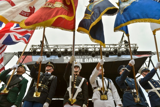 Colors are placed during the opening ceremony of the 2015 Defense Department Warrior Games held at the National Museum of the Marine Corps in Quantico, Va., June 19, 2015. DoD Photo by Glenn Fawcett (Released)