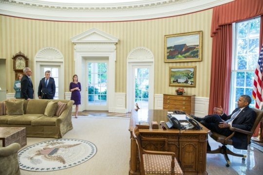 President Barack Obama meets with Amy Rosenbaum, Deputy Assistant to the President for Legislative Affairs, National Economic Council Director Jeffrey Zients, Christina Goldfuss, Managing Director, Council on Environmental Quality, Senior Advisor Brian Deese and Chief of Staff Denis McDonough in the Oval Office, June 12, 2015. (Official White House Photo by Pete Souza)