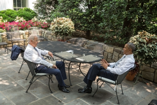 President Barack Obama and Vice President Joe Biden talk before lunch is served on the patio outside the Oval Office, June 10, 2015. (Official White House Photo by Pete Souza)
