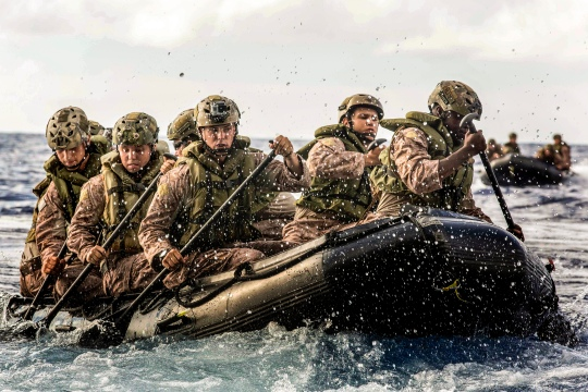 U.S Marines with Company F, Battalion Landing Team 2nd Battalion, 5th Marines, 31st Marine Expeditionary Unit (MEU), conduct launch and recovery drills using Combat Rubber Raiding Craft from the well deck of the USS Green Bay (LPD-20), at sea, June 10, 2015. The 31st MEU is currently conducting its annual Fall Patrol of the Asia-Pacific region. (U.S. Marine Corps photo by Lance Cpl. Brian Bekkala/Released.)