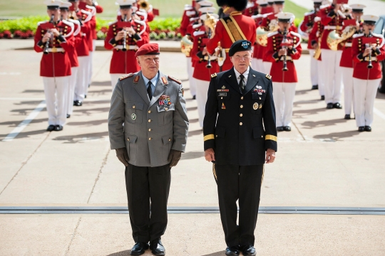 U.S. Army Gen. Martin E. Dempsey, right, chairman of the Joint Chiefs of Staff, and German Army Gen. Volker Wieker, chief of staff for Germany's armed forces, stand during an honor cordon at the Pentagon, June 23, 2015. The two leaders met to discuss matters of mutual importance.