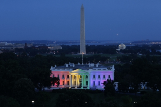 The White House is lit with the colors of the rainbow in celebration of the Supreme Court ruling on same-sex marriage, June 26, 2015. (Official White House Photo by Chuck Kennedy)
