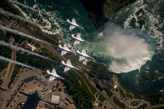The Thunderbirds Delta Formation flies over Niagara Falls, N.Y., July 20, 2015. (U.S. Air Force Photo by Senior Airman Jason Couillard)