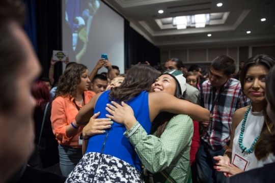 First Lady Michelle Obama greets Elizabeth Ferguson, 21, of Kotzebue, AK, following her remarks at the Tribal Youth Gathering in support of the Generation Indigenous and Reach Higher initiatives in Washington, D.C., July 9, 2015. (Official White House Photo by Lawrence Jackson)