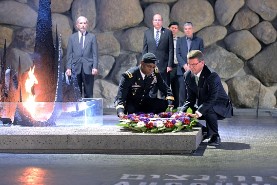 Secretary of Defense Ash Carter and Senior Military Assistant to the Secretary of Defense Lt. Gen. Ronald Lewis lay  a wreath during their visit to Yad Veshem on July 21, 2015. (DoD photo by U.S. Army Sgt. 1st Class Clydell Kinchen) (Released)
