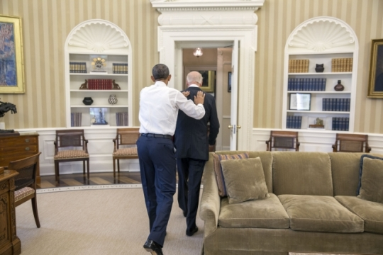 President Barack Obama greets Vice President Joe Biden in the Oval Office prior to their weekly lunch, July 8, 2015. (Official White House Photo by Pete Souza)