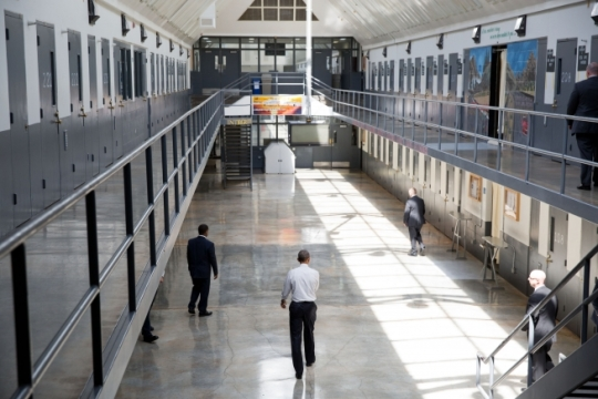 President Barack Obama walks in the Residential Drug Abuse Prevention Unit at El Reno Prison after making a statement to the press, in El Reno, Okla., July 16, 2015. (Official White House Photo by Pete Souza)