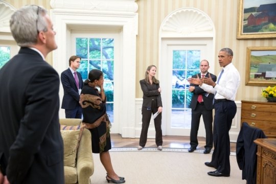 President Barack Obama talks with national security staff in the Oval Office after being notified of the nuclear agreement with Iran. From left, Chief of Staff Denis McDonough; Jeffrey Prescott, NSC Senior Director for Iran, Iraq, Syria, and the Gulf States; National Security Advisor Susan E. Rice; Avril Haines, Deputy National Security Advisor for Counterterrorism and Ben Rhodes, Deputy National Security Advisor for Strategic Communications, July 13, 2015. (Official White House Photo by Pete Souza)