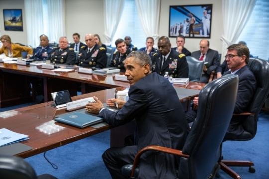 President Barack Obama meets with senior Defense Department, national security advisors and military leadership regarding the campaign against ISIL, at the Pentagon in Arlington, Va., July 6, 2015. (Official White House Photo by Pete Souza)