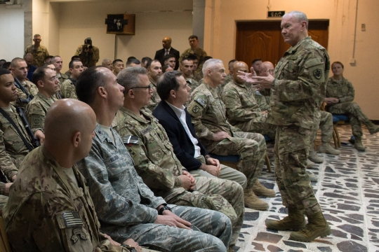 18th Chairman of the Joint Chiefs of Staff Gen. Martin E. Dempsey talks with Service Members deployed to Iraq during townhall in Baghdad, Iraq, July 18, 2015. (DoD photo by Mass Communication Specialist 1st Class Daniel Hinton/released)