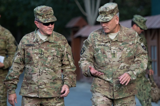 18th Chairman of the Joint Chiefs of Staff Gen. Martin E. Dempsey talks with Resolute Support Commander Gen. John F. Campbell at Resolute Support headquarters in Kabul, Afghanistan, July 19, 2015. (DoD photo by Mass Communication Specialist 1st Class Daniel Hinton/released)