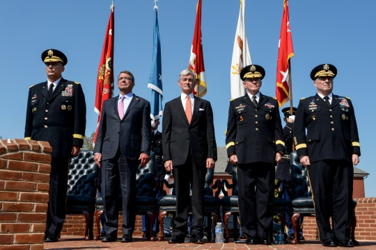 Secretary of Defense Ash Carter, Secretary of the Army John M. McHugh, and Chairman of the Joint Chiefs of Staff Army General Martin E. Dempsey and Army Chief of Staff General Ray Odierno and incoming Army Chief of Staff General Mark Milley stand at attention at the start of the change of responsibility ceremony at Sommerall Field, Joint Base Henderson-Myer, Arlington, Virginia on August 14, 2015. (DoD photo by U.S. Army Sgt. First Class Clydell Kinchen)(Released)