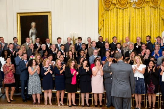 President Barack Obama greets recipients of the 2013 Presidential Award for Excellence in Mathematics and Science Teaching prior to joining them for a group photo in the East Room of the White House, July 31, 2015. (Official White House Photo by Amanda Lucidon)