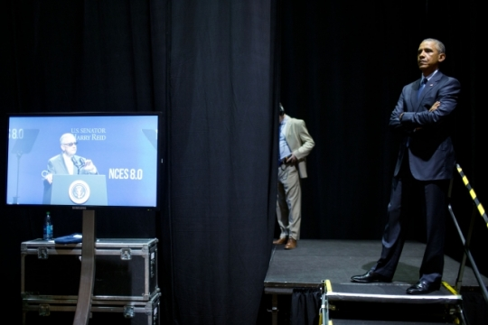 President Barack Obama waits backstage as Sen. Harry Reid (D-Nev.) introduces him at the National Clean Energy Summit in Las Vegas, Nev., Aug. 24, 2015. (Official White House Photo by Pete Souza)