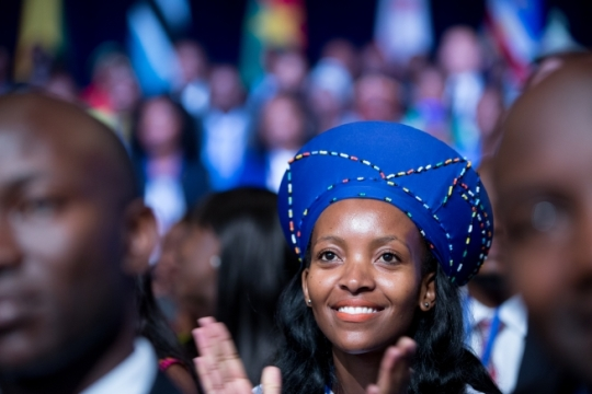 Attendees react to President Barack Obama during his remarks in a town hall at the Young African Leaders Initiative (YALI) Mandela Washington Fellowship Presidential Summit at the Omni Shoreham Hotel in Washington, D.C., Aug. 3, 2015. (Official White House Photo by Pete Souza)