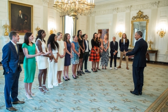 President Barack Obama greets the 2014 WNBA Champion Phoenix Mercury players, coaches and leadership in the State Dining Room prior to an event to honor the team and their victory in the WNBA Finals, Aug. 26, 2015. (Official White House Photo by Pete Souza)