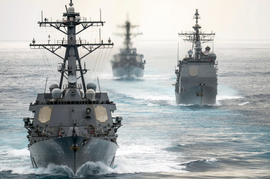 150811-N-XX566-016 PACIFIC OCEAN  (Aug. 11, 2015) - USS Chung Hoon (DDG 93), USS Moble Bay (CG 53) and USS Russel (DDG 59) follow USS John C. Stennis (CVN 74) during a show of force transit. Sailors from the John C. Stennis Strike Group are undergoing Composite Training Unit Exercise and Joint Task Force Exercise (COMPTUEX/JTFEX), the final step in certifying to deploy. (U.S. Navy photo by Mass Communication Specialist 3rd Class Andre T. Richard / Released)
